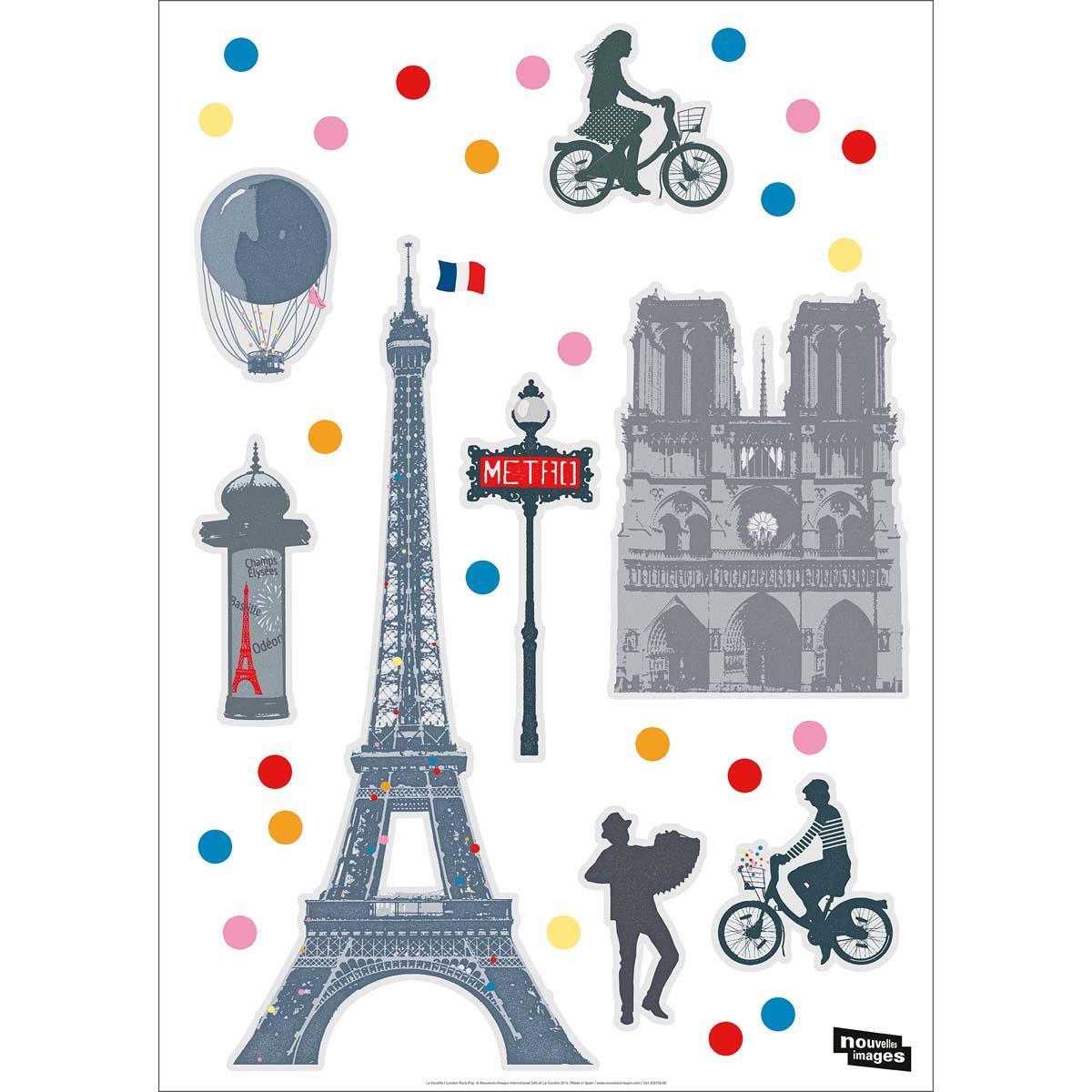 Ref-170-002025-03-5-DRAEGER-Lot-de-5-Stickers-mural-Paris-Multicolore miniature 3
